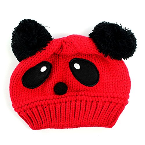 Baby Panda Cap,Misaky Kids Girls Boys Stretchy Warm Winter Hat Beanie (Red)