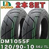 即納 [2本セット] YAMAHA VOX50 VOXデラックス タイヤセット DURO製タイヤ DM1055F 120/90-10 56J TL 50CC ダンロップOEM フロント リア SET 前後 ヤマハ