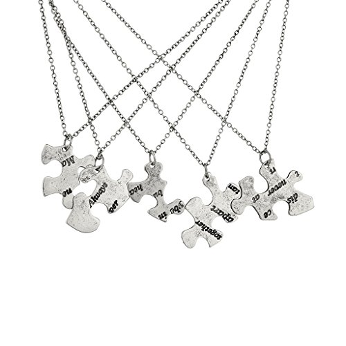 Lux Accessories Burnish Silver Always Together Puzzle Best Friends Bff Necklace