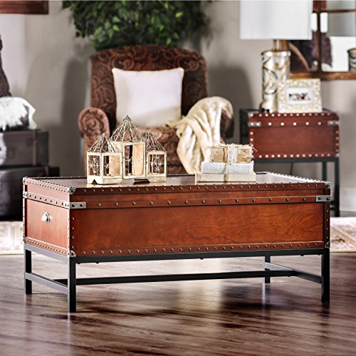 Furniture of America Cassone Contemporary Trunk Style Coffee Table, Cherry 1