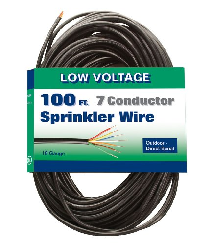 Coleman Cable 09636-10-08 Solid 30-Volt Underground Sprinkler System Wire, 18-Gauge 7-Conductor 100-Feet (Sprinkler Wire compare prices)