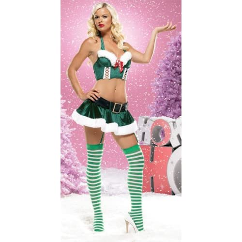 Sexy Costume: Hot Girls in Four Piece Halter Underwired Criss-Cross Front Bustier and Gartered Skirt With Belt, Includes Stockings