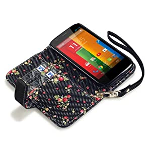 Terrapin Premium PU Leather Wallet Case/Cover/Pouch/Holster with Floral Interior for Motorola Moto G - Black