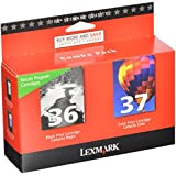 Lexmark No 36 & No 37 Color Combo Pack, Return Program Print Cartridges-Black