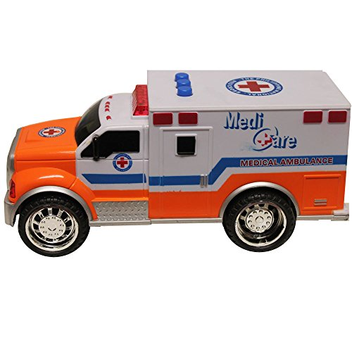 High Speed Super Power Kids Pretend Play Emergency Medical Ambulance Vehicle Lights and Sound Medi Care Truck