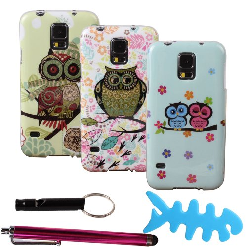 Teenitor(Tm) Bulk Pack Of 4 Cases #S502 Hot Durable Cute Cartoon Bling Owl Design Animal Slim Soft Tpu Gel Skin Case For Samsung Galaxy S5 I9600(With Screen Protector, Stylu, Fish Earphone Cable Organizer, Whistle) Shipping From Usa