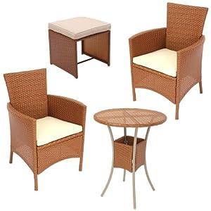 garten garnitur sitzgruppe rom poly rattan tisch rund 2x sessel und hocker rot braun. Black Bedroom Furniture Sets. Home Design Ideas