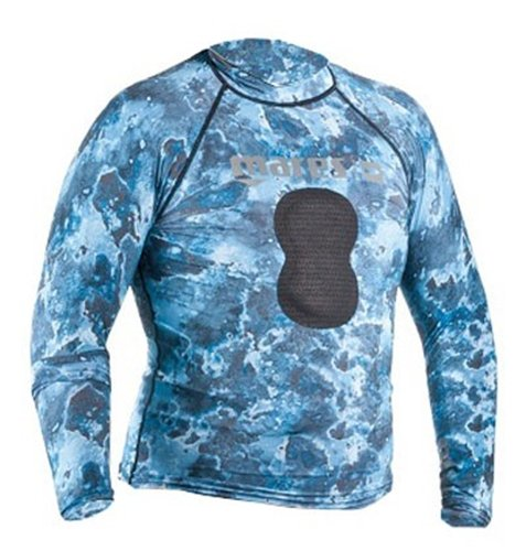 Mares Pure Instinct Mens Rash Guard Top w/Chest Pad in Blue Camo цена