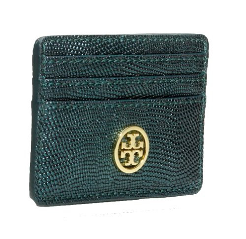 Tory Burch Tory Burch Brittany Slim Card Case Stingray Embossed Leather, Deep Sea