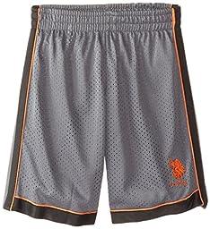 U.S. Polo Assn. Little Boys\' Mesh Sport Short with Dazzle Lining, Gray/Orange, 7