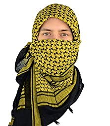 Mato & Hash Military Shemagh Tactical 100% Cotton Scarf Head Wrap - Black/Gold