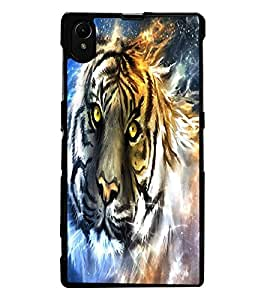 ColourCraft Scary Tiger Look Design Back Case Cover for SONY XPERIA Z1