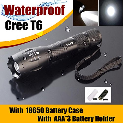 Welltop® Zoomable Scalable Led Flashlight Cree-Xml Waterproof Flashlight 300 Lumen Cree Xml T6 Q5 Tactical Torch Glim Lantern Warning Bike Light Front Light Headlamps For Household And Party Use Christmas Party Night Fishing (White)