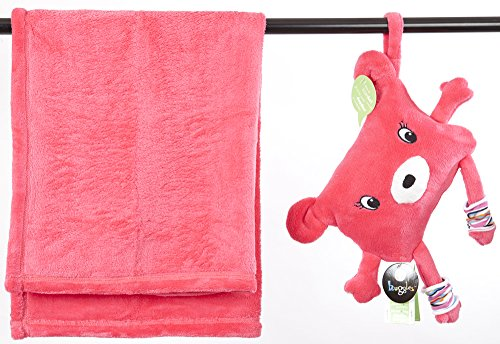 Soft Baby Blanket Stored in a Huggable Pouch Dodo-to-Go by My Friend Huggles, Pink Color