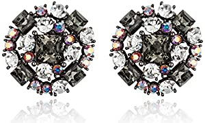 Dazzling Snowflake with Black Diamond Color Rhinestones Stud Earrings [Swarovski Element Crystals]