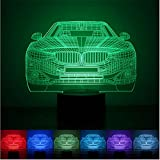 CTLAMP 3D illusion Bulbing Night 7 Color Change Touch Switch Table Desk Lamp LED Light for Kid for Indoor Decoration(Car)