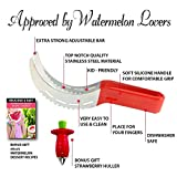 Watermelon Slicer Corer Cutter Tongs & Server Knife, Stainless Steel, 2 Free Bonus - Strawberry Huller & eBook, as Seen on TV, Melon Cantaloupe Peeler, Kid-Friendly, Kitchen Tools By 1ELEGANT