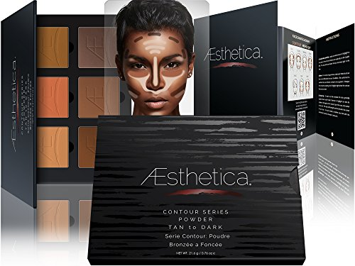 Aesthetica Contour Series - Tan to Dark Powder Contour Kit / Contouring and Highlighting Makeup Palette; Vegan and Cruelty Free - Easy-to-Follow Step-by-Step Instructions Included (Make Up Kit For Dark Skin compare prices)