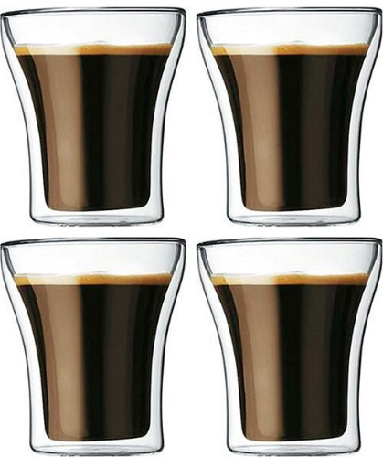 Bodum Assam Double-Wall Insulated 6.5-Ounce Glasses, Set Of 4 -