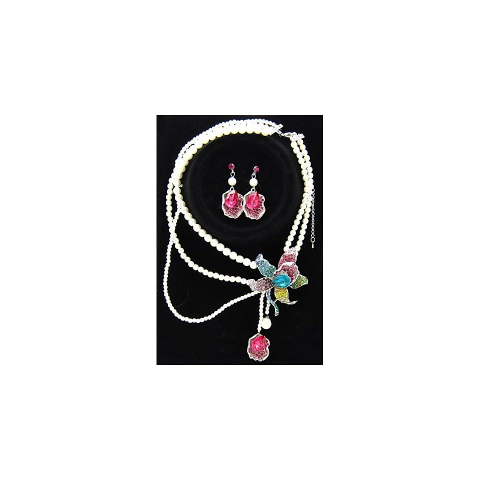 rainbow rhinestone flower pearl necklace earring set