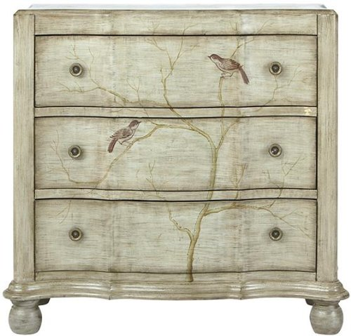 Hand Painted Bird Chest, 3-Drawer, Pewter front-1013297