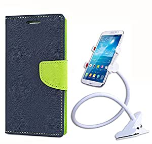 Aart Fancy Diary Card Wallet Flip Case Back Cover For Samsung A7 - (Blue) + 360 Rotating Bed Tablet Moblie Phone Holder Universal Car Holder Stand Lazy Bed Desktop for by Aart store.