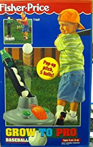Amazon.com: Fisher Price Grow to Pro Baseball Kids Pop-up Pitch Tee T-ball Stand Set: Sports ...