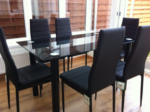 STUNNING GLASS WHITE OR BLACK DINING TABLE SET AND 6 FAUX LEATHER CHAIRS M