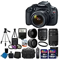 Canon EOS Rebel T5 18MP EF-S Digital SLR Camera USA warranty with canon EF-S 18-55mm f/3.5-5.6 IS [Image Stabilizer] II Zoom Lens & EF 75-300mm f/4-5.6 III Telephoto Zoom Lens + 58mm 2x Professional Lens +High Definition 58mm Wide Angle Lens + Auto Power