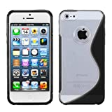 Clear/ Solid Black (S Shape) Gummy Silicone Skin Gel Cover Case For Apple iPhone 5