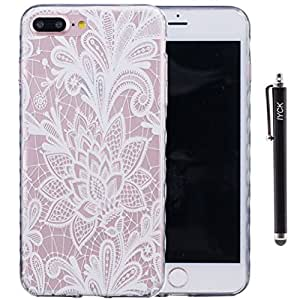 iPhone 7 Case, iYCK Ultra Slim Thin Premium Flexible Soft TPU Extra Grip Anti-Scratch Protective Transparent Border Back Cover for Apple iPhone 7 4.7inch - Lush White Rose