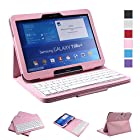 NEWSTYLE Removable Wireless Bluetooth Keyboard ABS Plastic Laptop Stylish Keys and Protective Case For Samsung Galaxy Tab 3 10.1 10.1 inch Tablet P5200 & Galaxy Tab 4 10.1 inch Tablet SM-T530 T531 T535 (Pink)