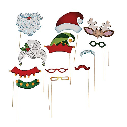 Christmas Santa & Elf Stick Costume Photo Booth Props - 12 pcs - 1