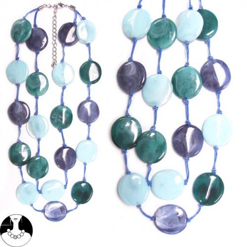SG Paris Necklace 2 Rows 55cm+Ext Rhodium Multi Blue Comb Bleu Combinaison Necklace Necklace Plastic Summer Women Pop Spirit Fashion Jewelry / Hair Accessories Circle