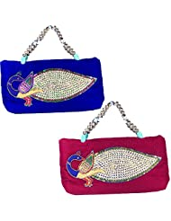 Arisha Kreation Co Women Hand Made Smart Stone Peacock Design Hand Bag Set Of 2 (Royal Blue & Pink)