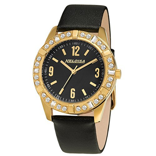 Heloise Swarovski Studded Bezel Black Leather Gold Plated Watch Womens #76120233 (Heloise Jewelry Box compare prices)