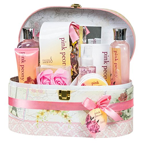 Royal Peony Spa Bath Gift Set in Mirrored Jewelry/ Cosmetic Decorative Hard Box,2 shelf, 6 compartments, brown leather handle, gold lock closer