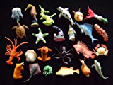 Set of 24 Mini Toy Sealife Creatures inc octopus, seahorse, lobster, turtle, stingray, starfish, and many more.