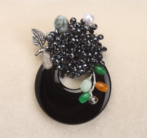 Vintage Balck Onyx Based Crystal Flower Brooch