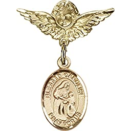 Gold Filled Baby Badge with Blessed Caroline Gerhardinger Charm and Angel w/Wings Badge Pin 1 X 3/4 inches
