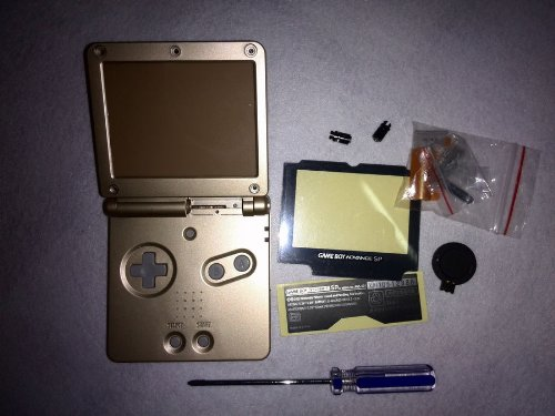 Full Parts Replacement Housing Shell Pack for Nintendo Gameboy Advance SP GBA SP(golden)(Battery is Not included) (Gameboy Advance Sp Full Housing compare prices)
