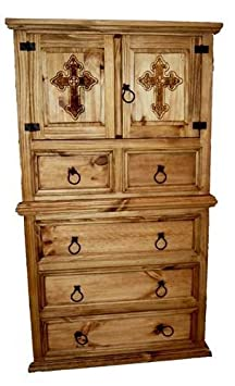 Mansion Chest of Drawers with Cross, Rustic, Western, Real Wood, Tall Dresser
