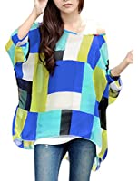 Allegra K Women Geometric Prints Sheer Oversize Batwing Tops Blouse Plus Size