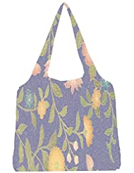 Snoogg Floral Pattern Womens Jhola Shape Tote Bag