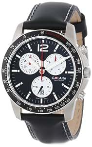 Golana - TE200.1 - Terra - Pro - All Terrain - Montre Homme Acier - Quartz Analogique - Chronographe - Bracelet Cuir Noir