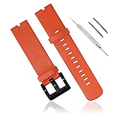 Fitian New Replacement Leather Watch Strap Band for Moto 360 Smart Watch Motorola Wristband with Free Screen Protector (Orange Leather Strap)