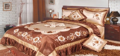 Dada Bedding Bm6002 Bronze Flowers Polyester Patchwork 5-Piece Comforter Set, Queen/Full, Dark Brown
