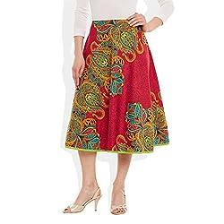 Womens Apparels Cotton Printed Medium Length Skirt A-Line, Medium,W-CMLSM-3034