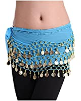 Viskey Fashion Chiffon Belly Dance Waist Chain with Golden Coins in 3-Layers,Blue