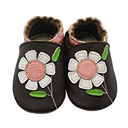 Sayoyo Baby Flowers Soft Sole Brown Leather Infant And Toddler Shoes 0-6Months